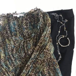Nanette Lepore Sheer Silk Blouse Size 8 EUC